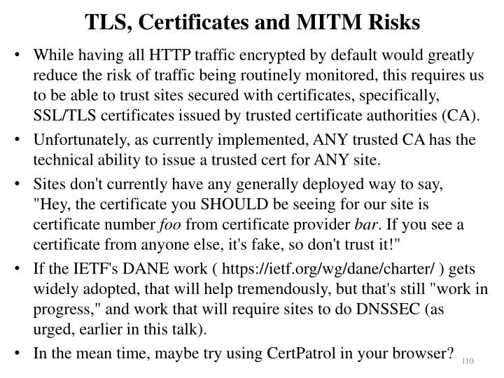 TLS, Certificates and MITM Risks