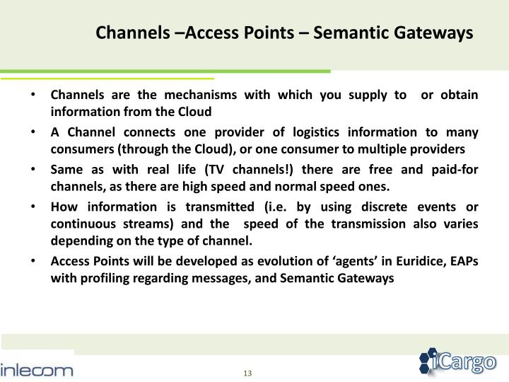 Channels –Access Points – Semantic Gateways