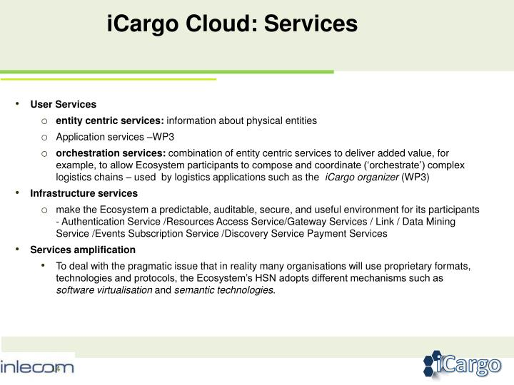 iCargo Cloud: Services