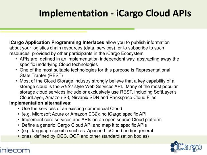 Implementation - iCargo Cloud APIs