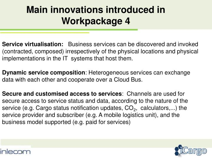 Main innovations introduced in Workpackage 4