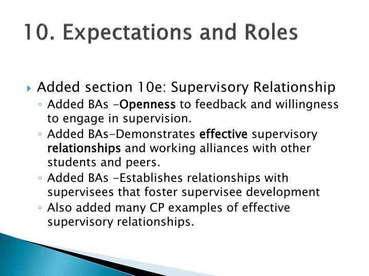 10. Expectations and Roles