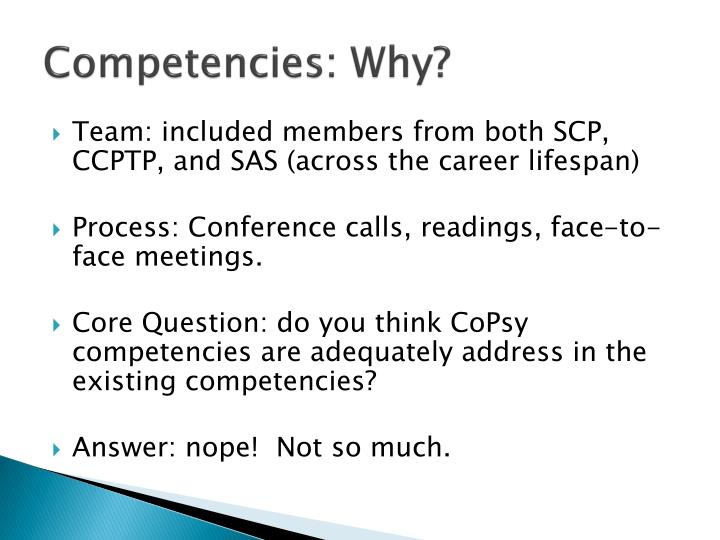 Competencies: Why?