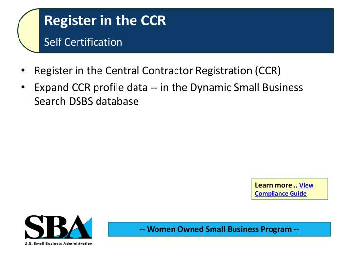 Register in the Central Contractor Registration (CCR)