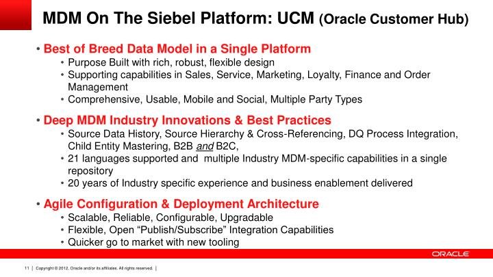 MDM On The Siebel Platform: UCM
