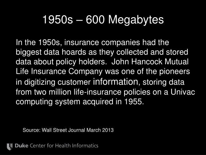 1950s – 600 Megabytes