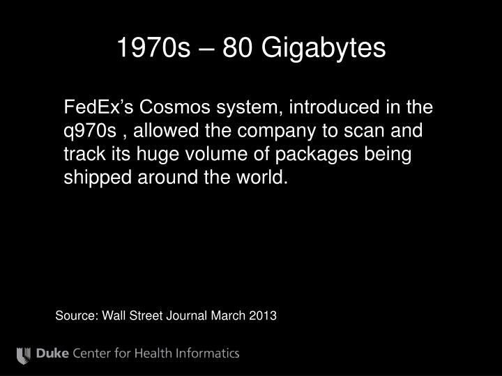 1970s – 80 Gigabytes