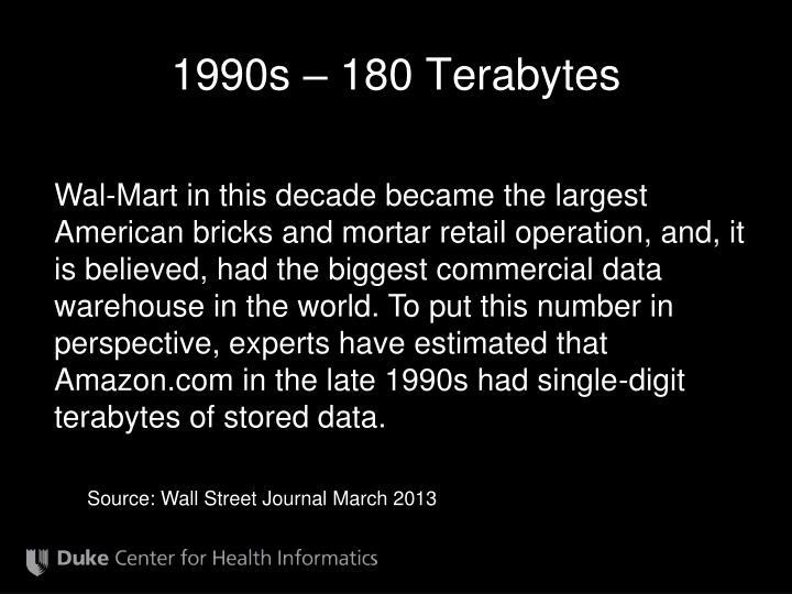 1990s – 180 Terabytes