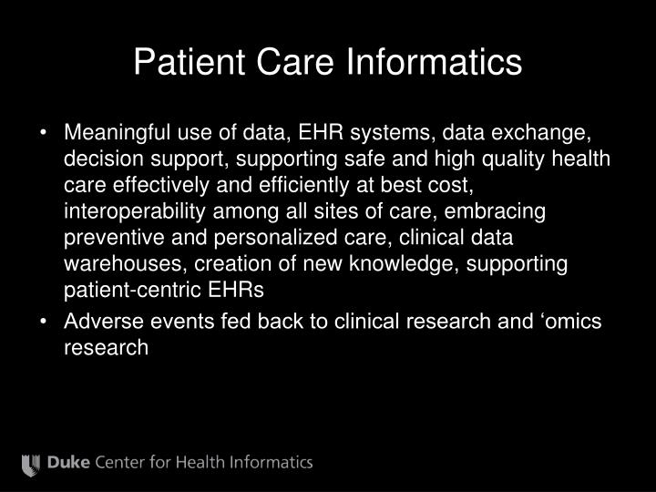 Patient Care Informatics