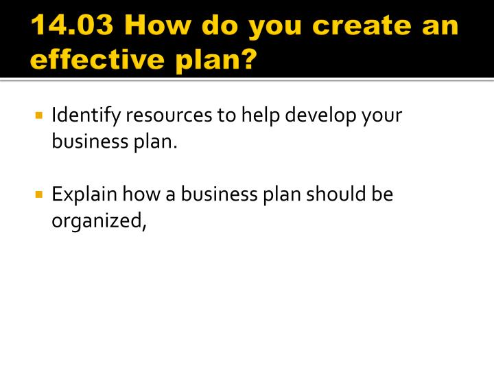 14.03 How do you create an effective plan?