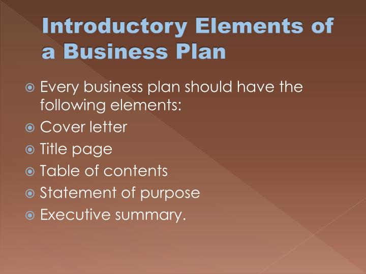 Introductory Elements of a Business Plan