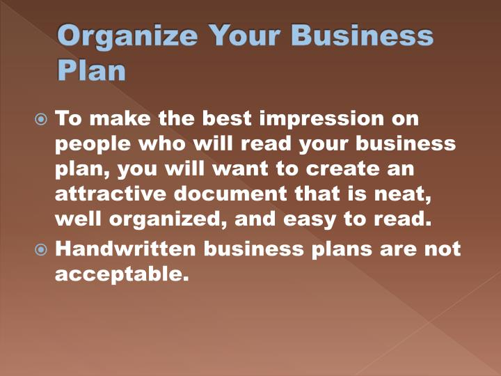 Organize Your Business Plan