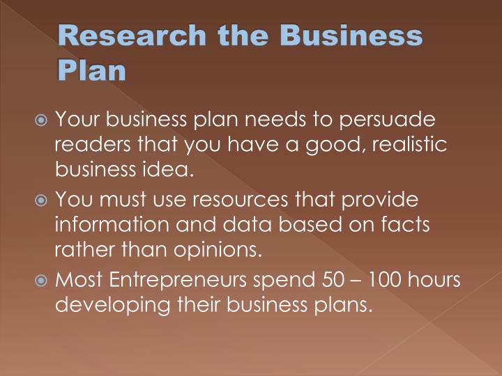 Research the Business Plan