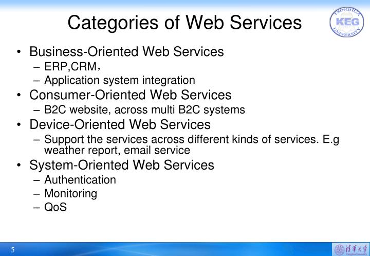 Categories of Web Services