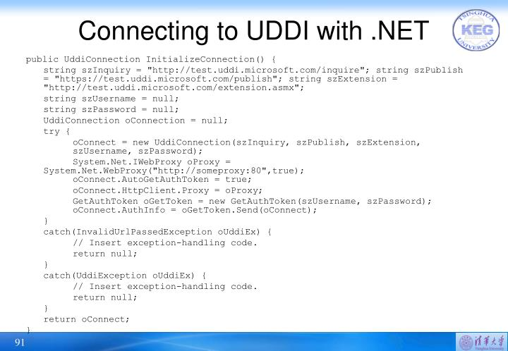 Connecting to UDDI with .NET