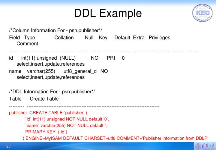DDL Example