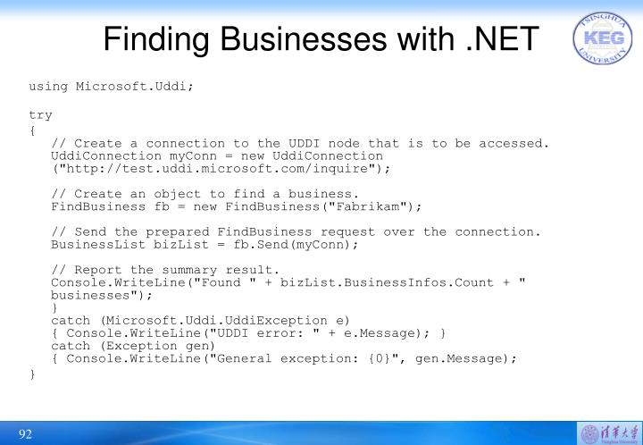 Finding Businesses with .NET