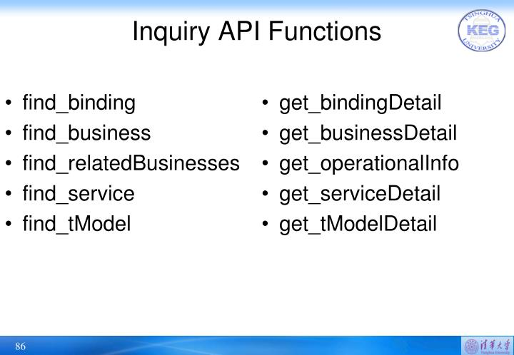 Inquiry API Functions