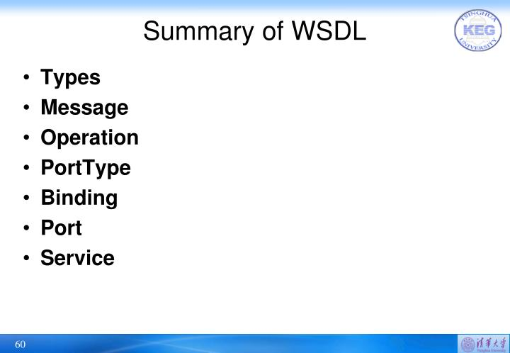 Summary of WSDL