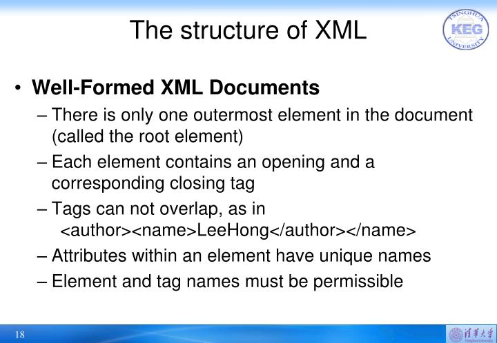 The structure of XML
