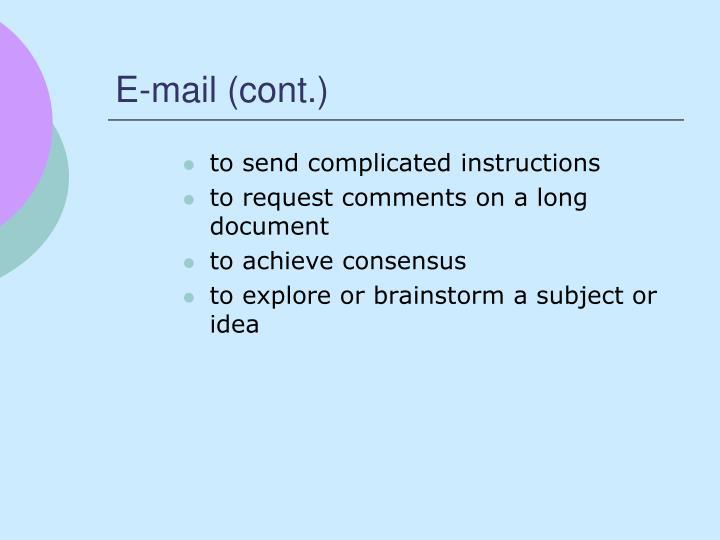 E-mail (cont.)