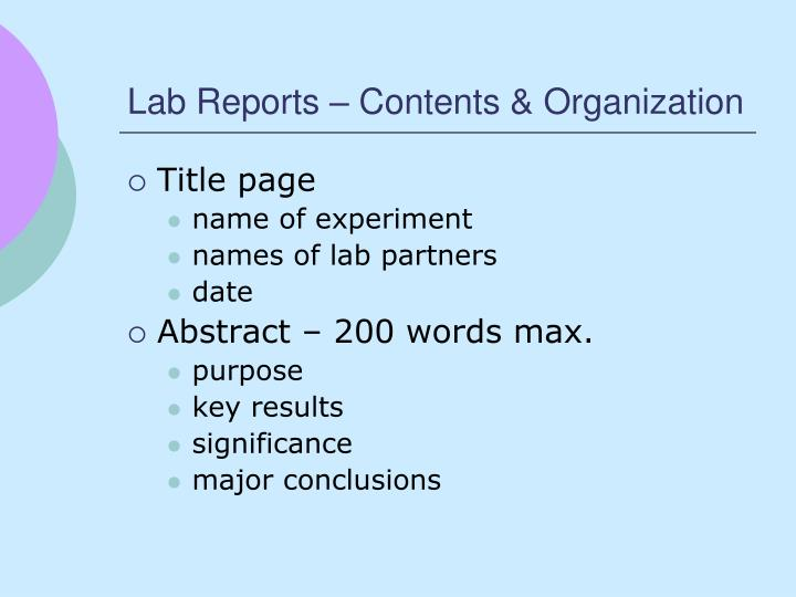 Lab Reports – Contents & Organization