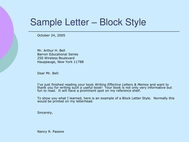 Sample Letter – Block Style