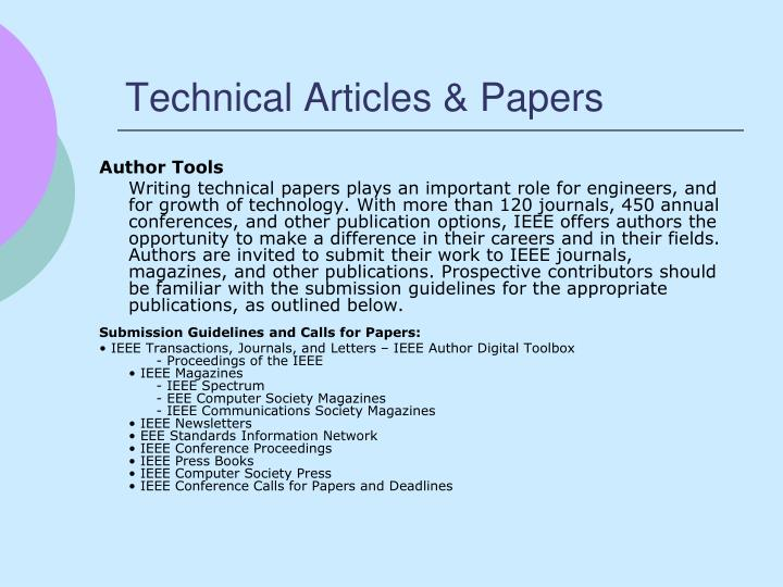 Technical Articles & Papers