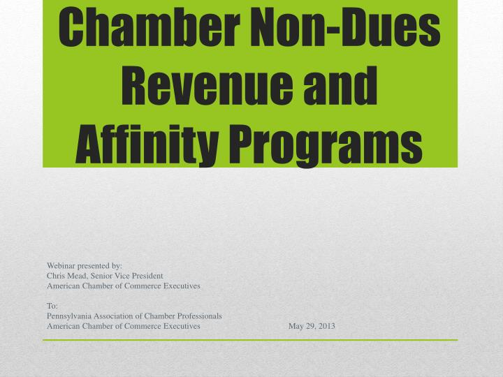 Chamber non dues revenue and affinity programs