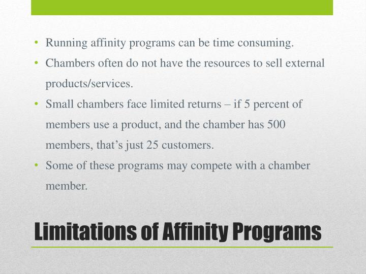 Running affinity programs can be time