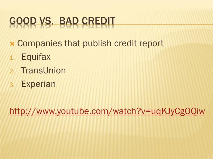 Companies that publish credit report