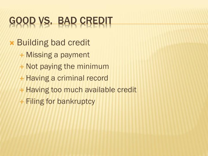 Building bad credit