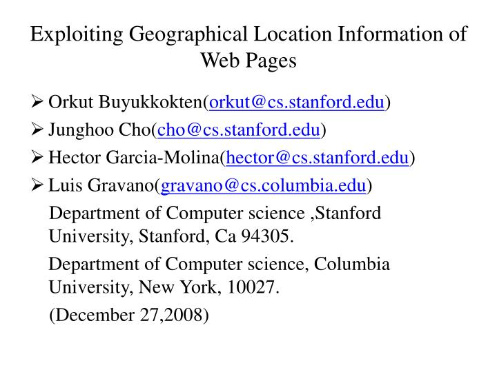 Exploiting Geographical Location Information of Web Pages