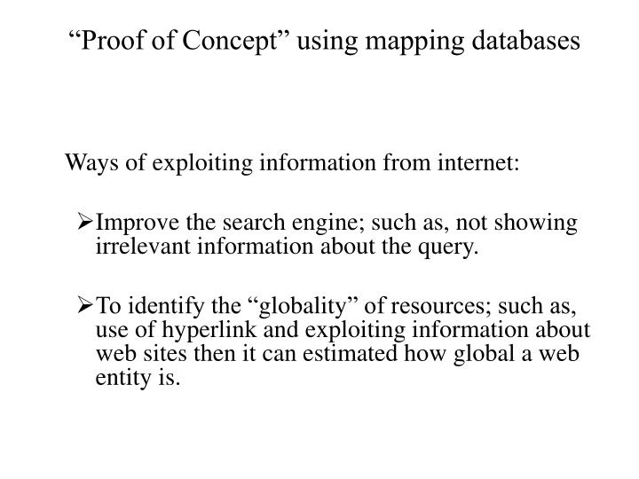 """""""Proof of Concept"""" using mapping"""
