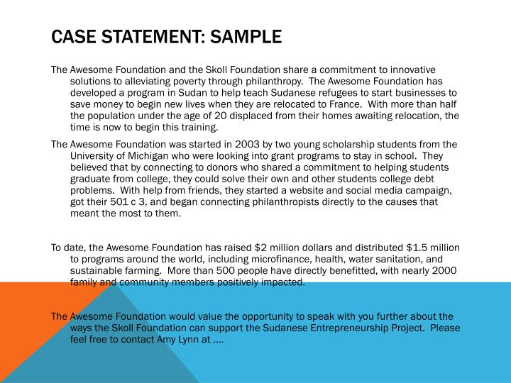 Case Statement: Sample