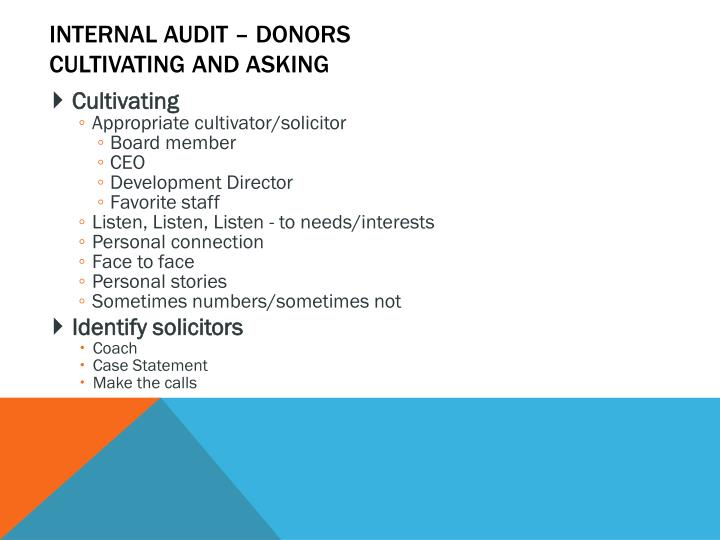 Internal Audit – Donors