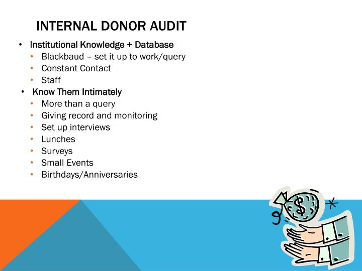 Internal donor audit