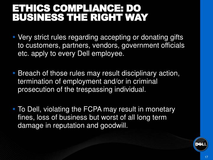 Ethics compliance: do business the right way