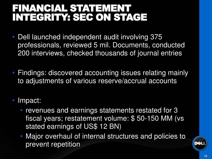 Financial statement integrity: sec on stage