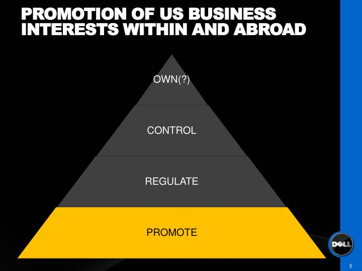 Promotion of us business interests within and abroad