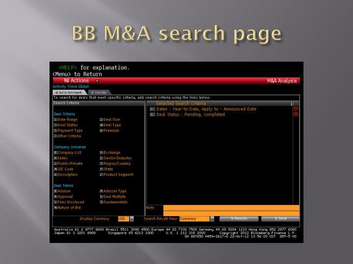 BB M&A search page