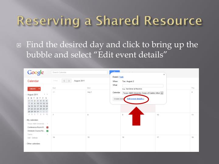Reserving a Shared Resource
