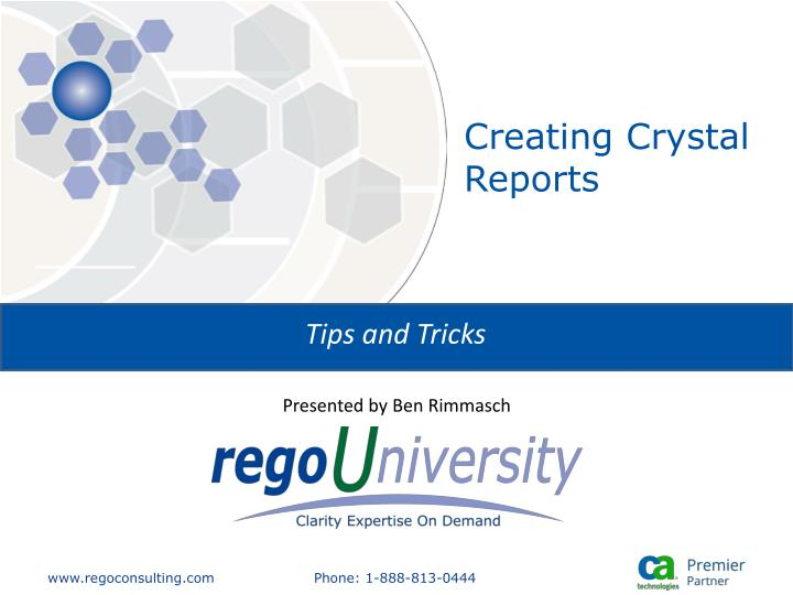 Creating crystal reports