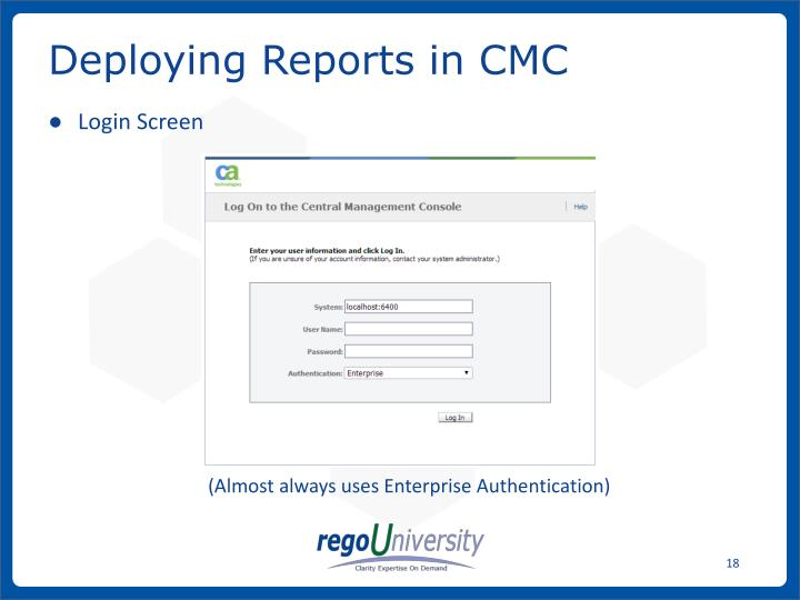 Deploying Reports in CMC