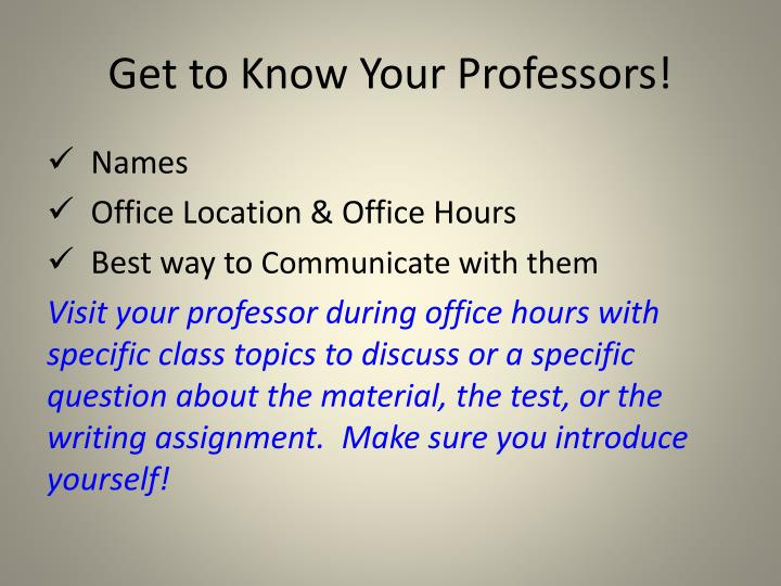 Get to Know Your Professors!
