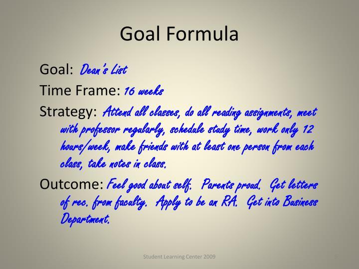 Goal Formula