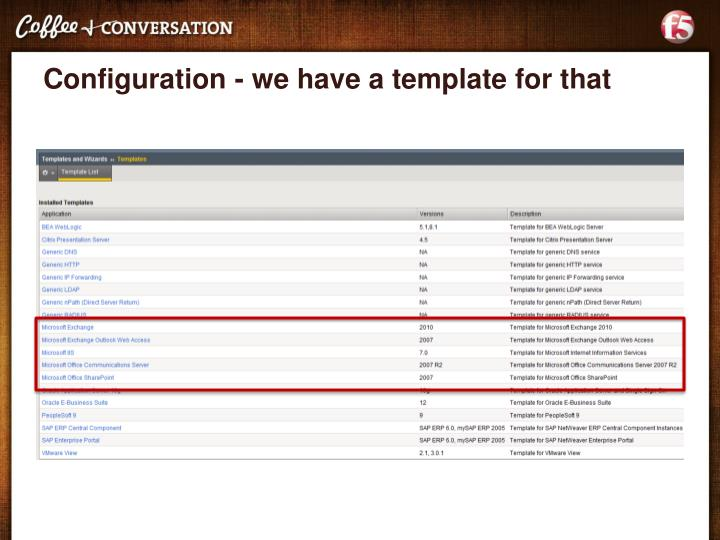 Configuration - we have a template for that