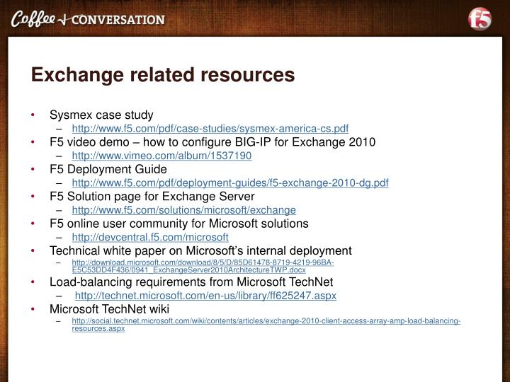 Exchange related resources