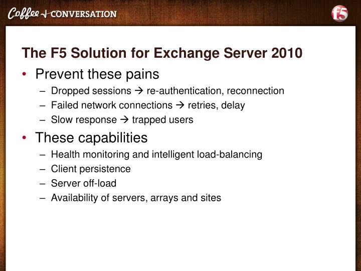 The F5 Solution for Exchange Server 2010