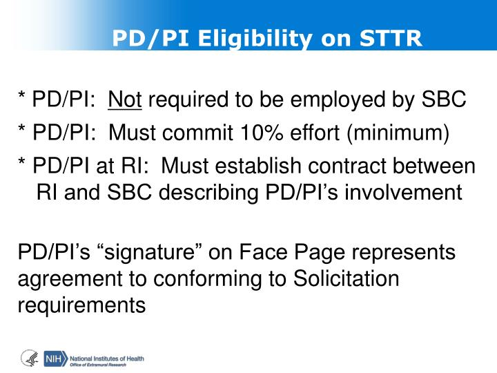 PD/PI Eligibility on STTR